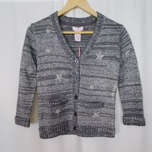 Lulurain Grey Metallic Silver Cardigan Jewel Stars